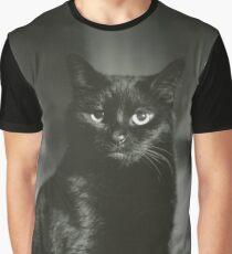 Portrait of black cat square black and white analogue medium format film Hasselblad  photograph Graphic T-Shirt