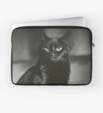 Portrait of black cat square black and white analogue medium format film Hasselblad  photograph Laptop Sleeve