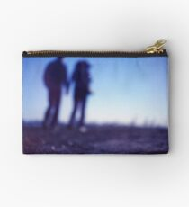 Romantic couple walking holding hands on beach in blue Medium format color negative film photo Studio Pouch
