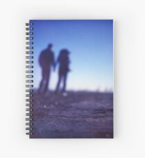 Romantic couple walking holding hands on beach in blue Medium format color negative film photo Spiral Notebook