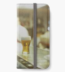 Glass of beer in Spanish tapas bar square Hasselblad medium format  c41 color film analogue photograph iPhone Wallet/Case/Skin