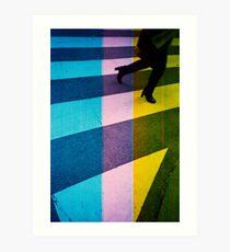35mm analog film darkroom photo woman crossing street Art Print