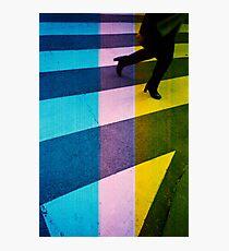 35mm analog film darkroom photo woman crossing street Photographic Print