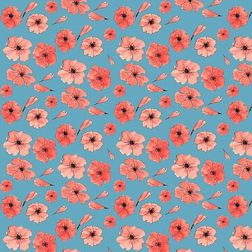 Red poppies pattern on blue by raquelcasilda