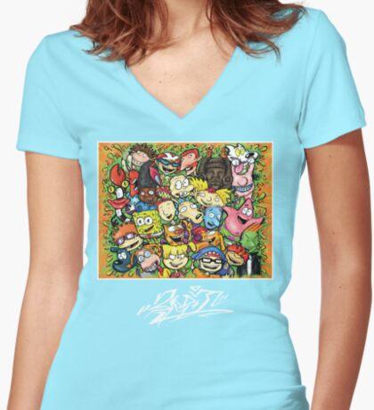 Nostalgic Nick Women's Fitted V-Neck T-Shirt