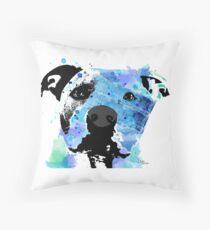 pit bull watercolor pet portrait || Sadie Throw Pillow