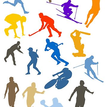 Sports lovers, Disciplines, Colour Silhouette, pattern by TOMSREDBUBBLE