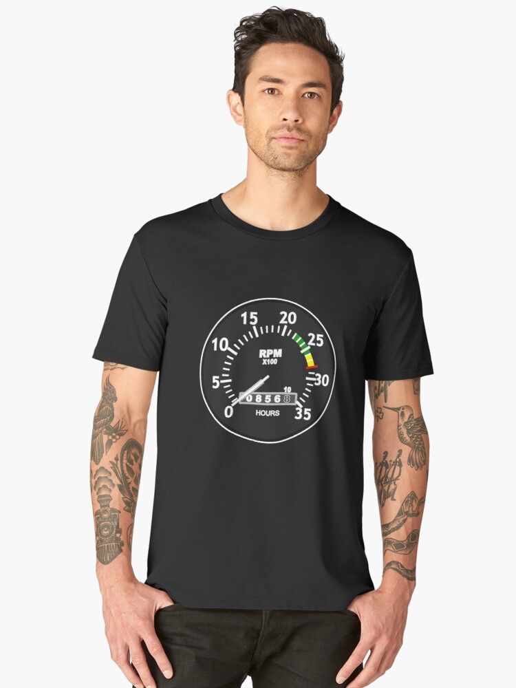 TACHOMETER, RPM, SPEED, RACE, MOTORSPORT, RACING, SPEEDOMETER, REV COUNTER, on BLACK Men's Premium T-Shirt Front