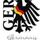 German Flag draped on the GER Stylized Eagle by edsimoneit