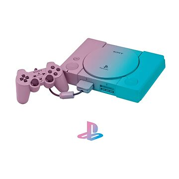 Playstation One Vaporwave Controller and Logo by gregGgggg