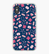 Pink and Blue Nurse Pattern iPhone Case