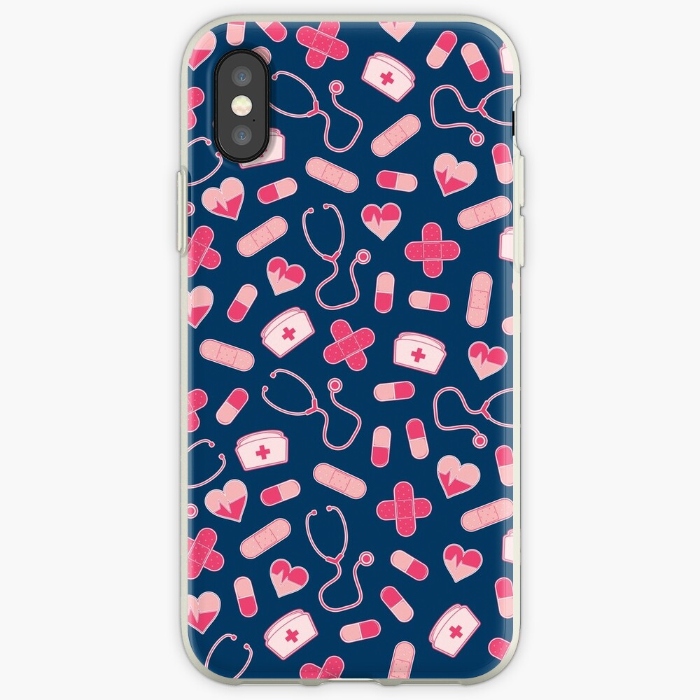 Rosa und Blau Krankenschwester Pattern iPhone-Hülle & Cover