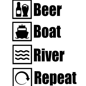 Beer Boat River Repeat TShirts Funny Boating Shirts Mugs Decor by lemonographie