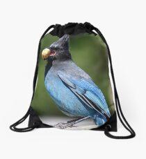 Stellar's Jay With a Beak-full Drawstring Bag