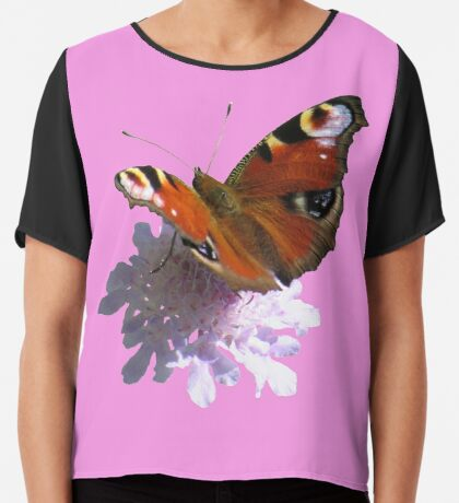 zauberhafter Schmetterling, Pfauenauge, Blume, Blüte, Sommer, Sonne Chiffontop