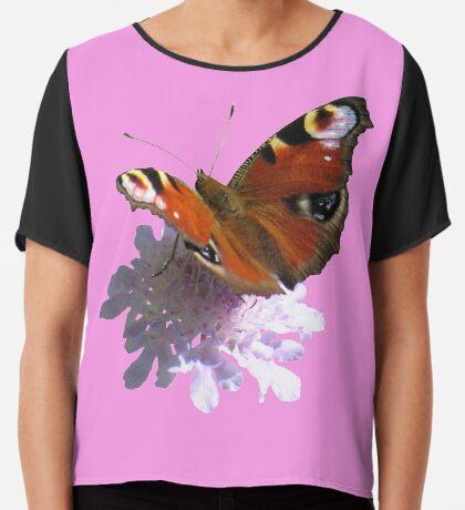 zauberhafter Schmetterling, Pfauenauge, Blume, Blüte, Sommer, Sonne Chiffontop für Frauen