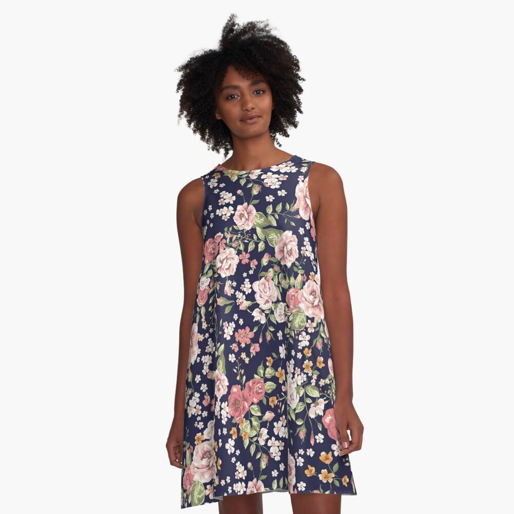 Blumen A-Linien Kleid