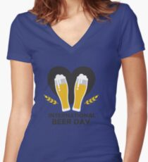International Beer Day - Beer Day Shirt  Women's Fitted V-Neck T-Shirt
