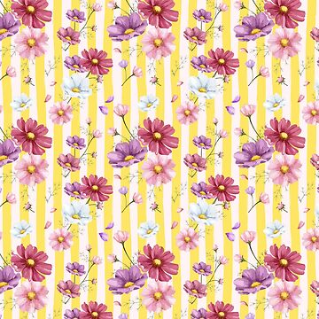 Preppy Yellow Cabana Stripes and Pastel Flowers by CafePretzel