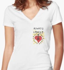 Always Lonely Women's Fitted V-Neck T-Shirt