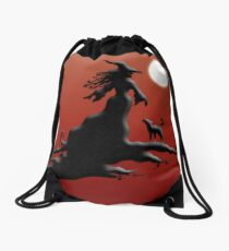 Witch's Silhouette - Prints and Cards Drawstring Bag