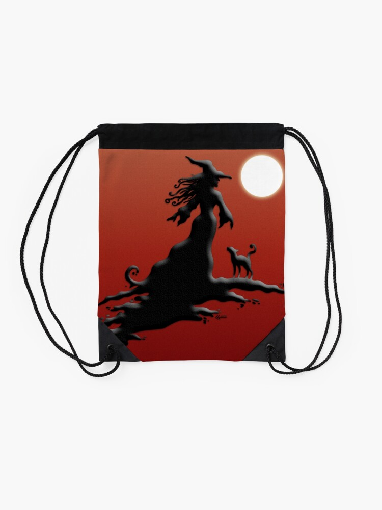 Alternate view of Witch's Silhouette - Prints and Cards Drawstring Bag