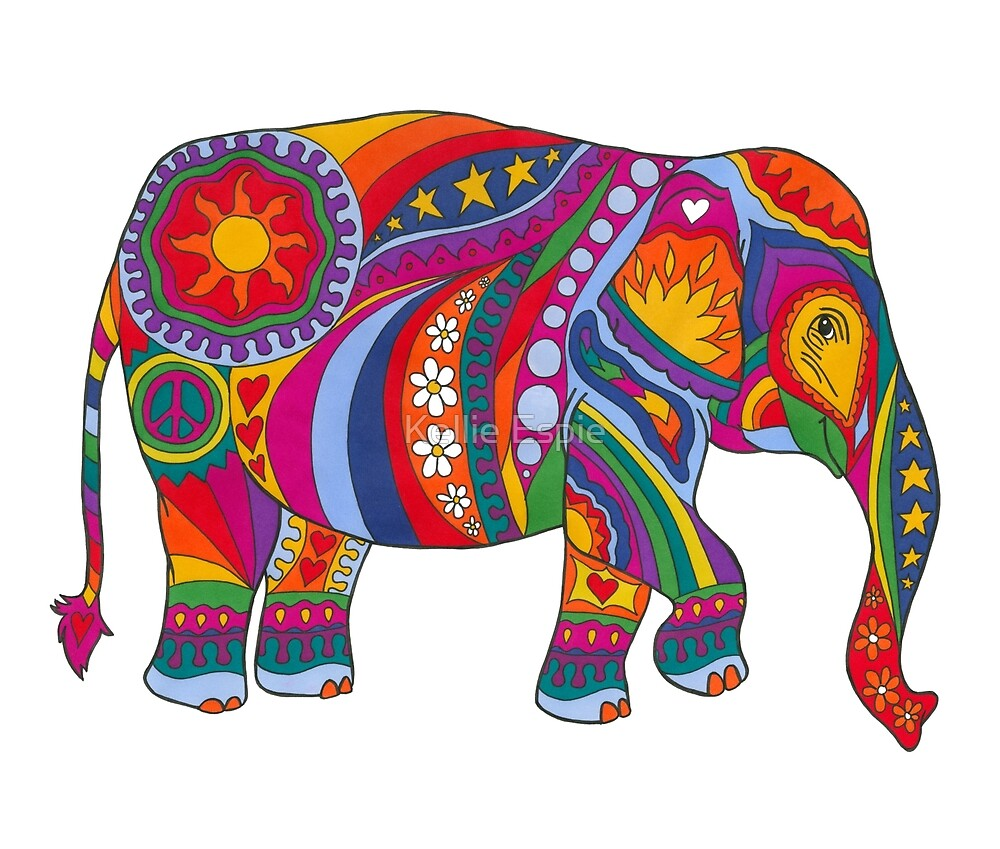 Psychedelic Elephant by Kellie Espie