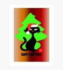 Cute Retro Catty christmas card Art Print