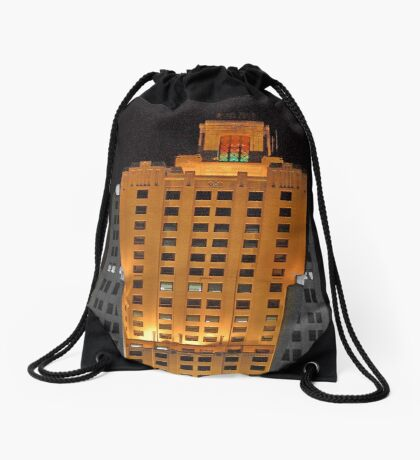 Skyscraper at night Drawstring Bag
