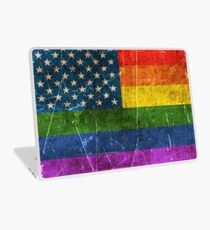 Vintage Aged and Scratched Gay Pride Rainbow American Flag Laptop Skin
