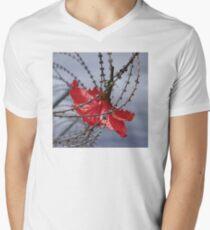 Hibiscus flower in razor wire Mens V-Neck T-Shirt