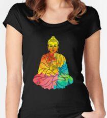 Sitzende Buddha-psychedelische Aquarell-Art Tailliertes Rundhals-Shirt