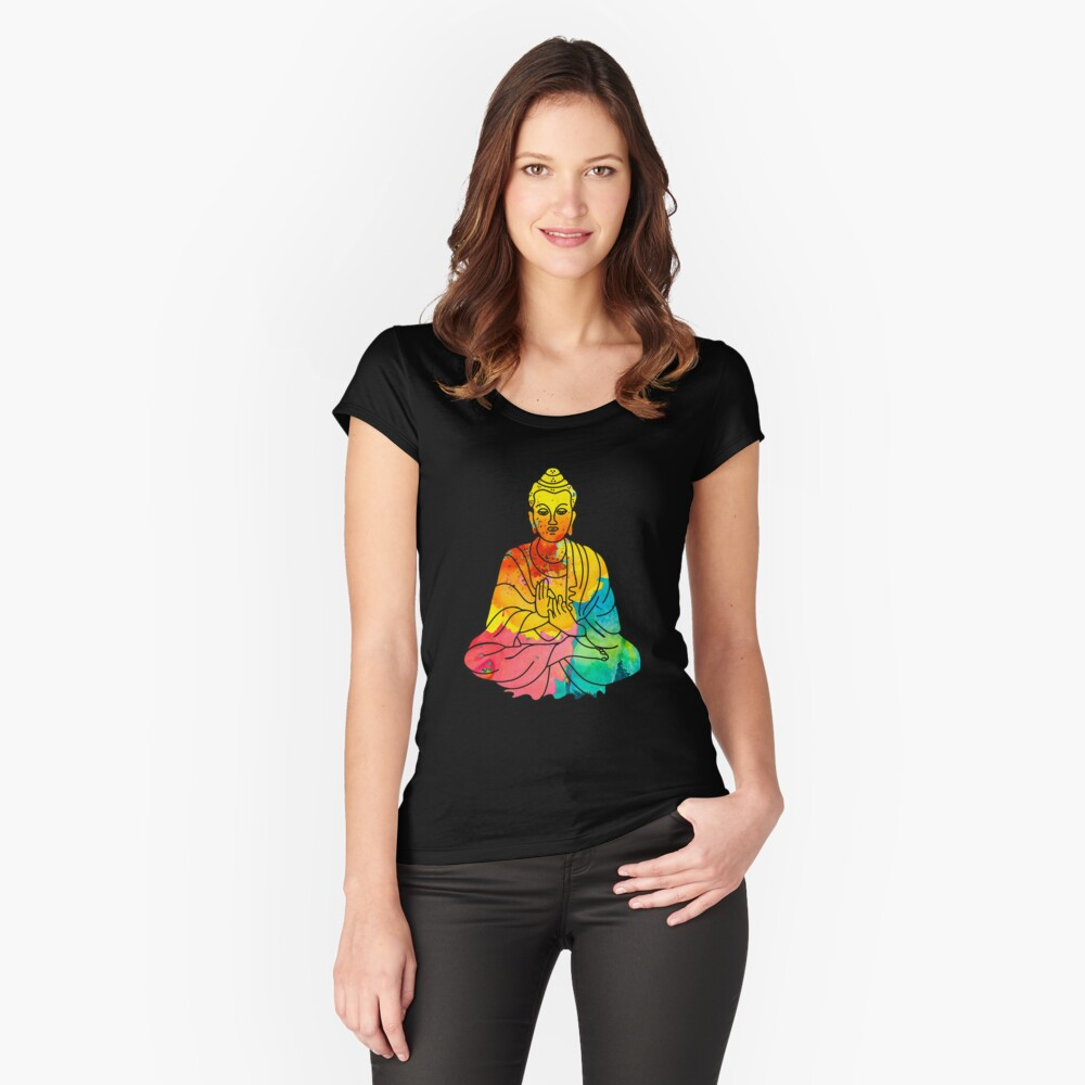 Sitting Buddha Psychedelic Watercolor Style Fitted Scoop T-Shirt