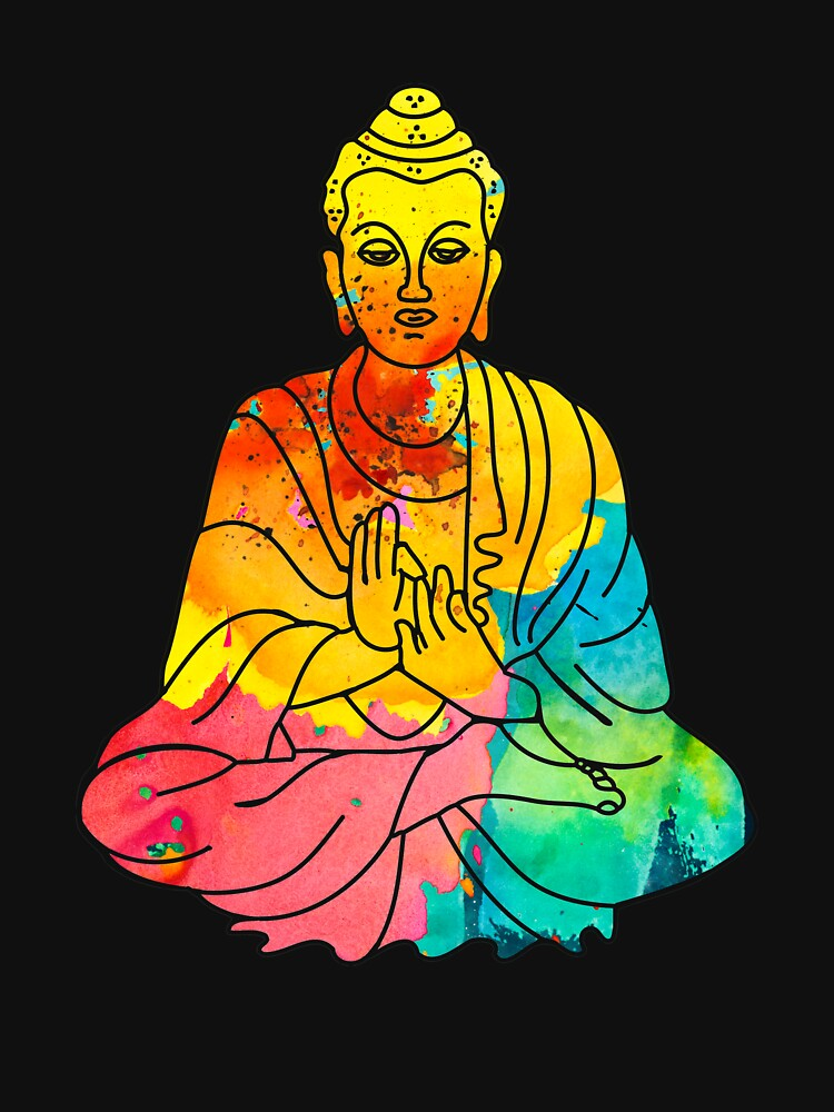 Sitting Buddha Psychedelic Watercolor Style by Teeming