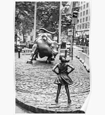 Póster Fearless Girl & Bull NYC