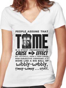 Wibbly-Wobbly Timey-Wimey...Stuff. Women's Fitted V-Neck T-Shirt