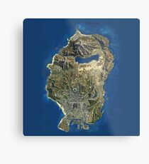 Grand Theft Auto V Los Santos Map Metal Print