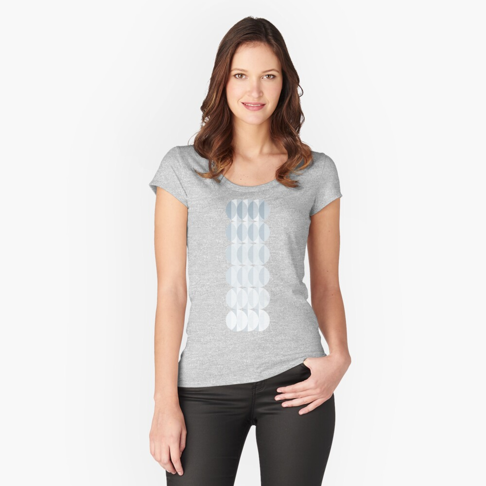 leaves in the mist - a pattern in ice gray Fitted Scoop T-Shirt