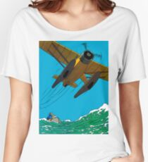 Tintin Airplane Print Women's Relaxed Fit T-Shirt