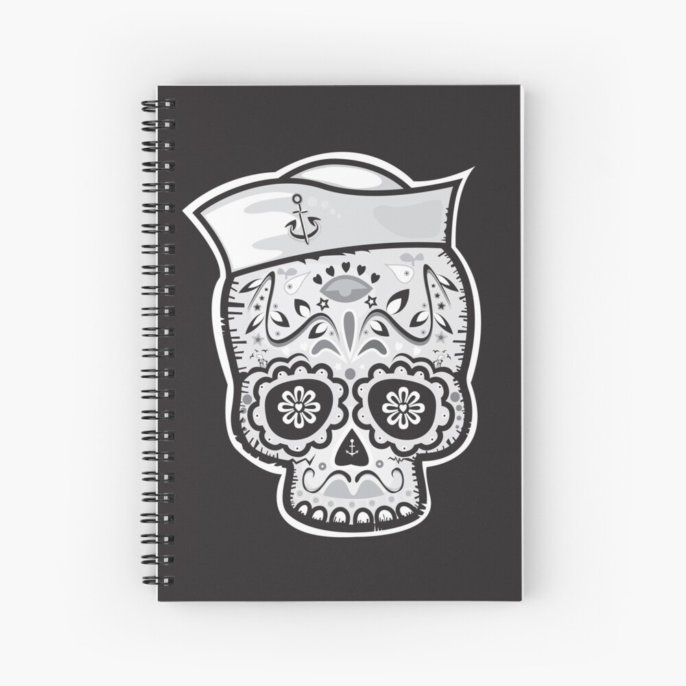 Marinero muerto sugar skull Spiral Notebook
