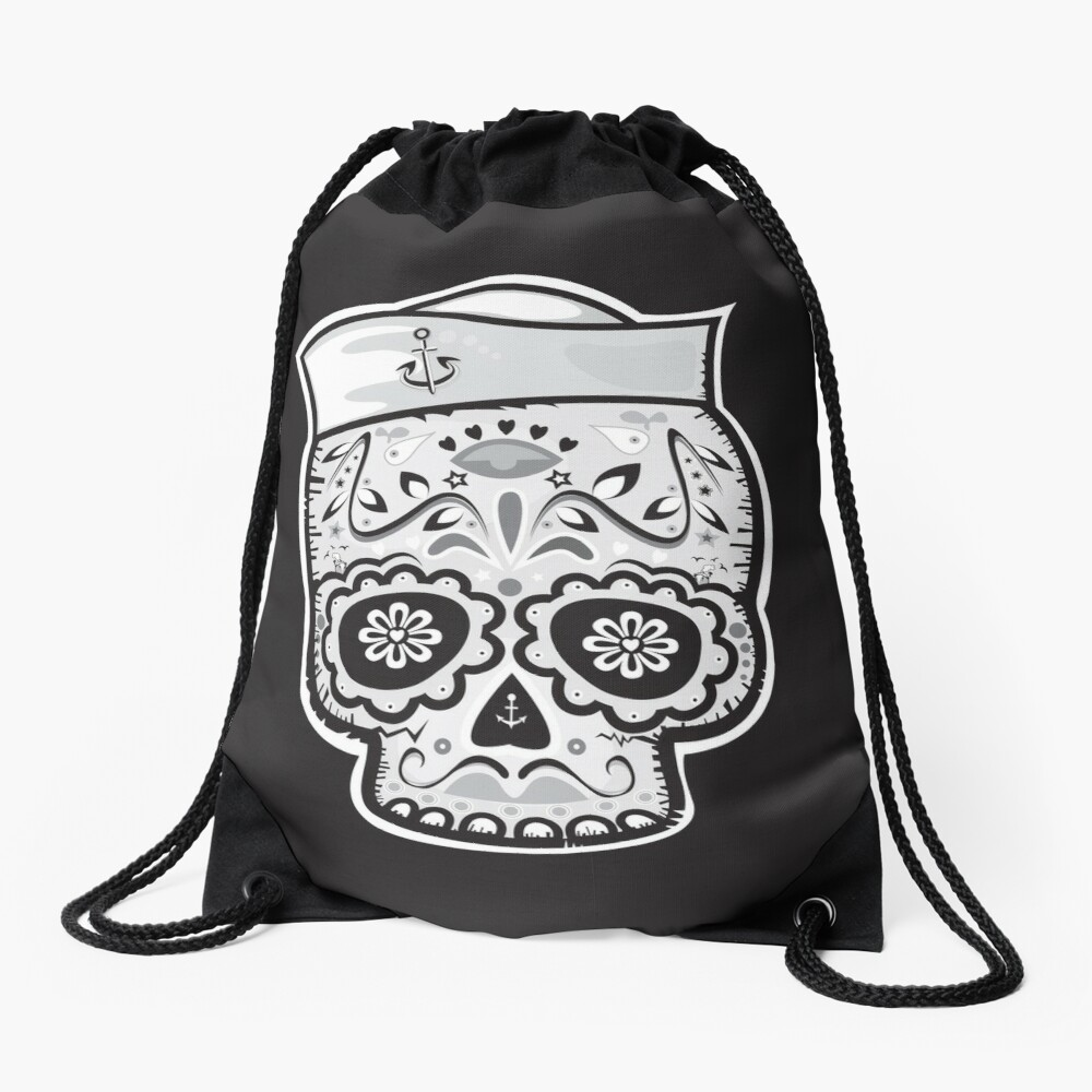 Marinero muerto sugar skull Drawstring Bag