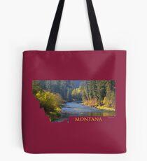 Montana- A River Flows through Autumn Tote Bag