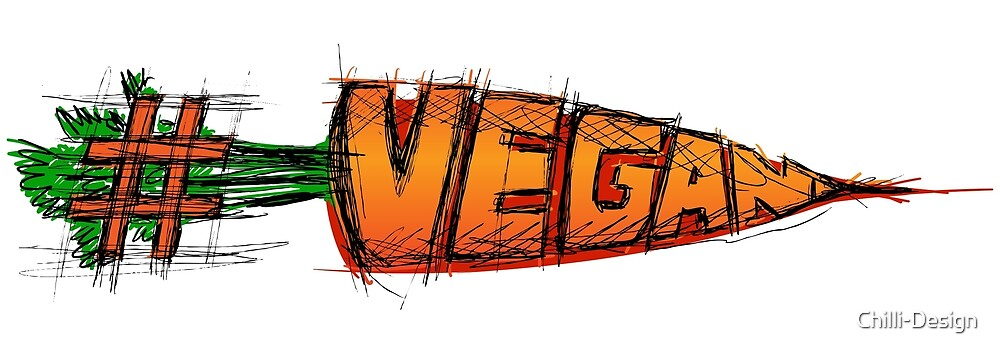 #vegan - with hand lettering and carrot drawing by Chilli-Design