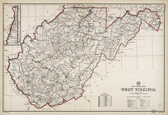 Post Route Map, West Virginia (March 1, 1950) by allhistory