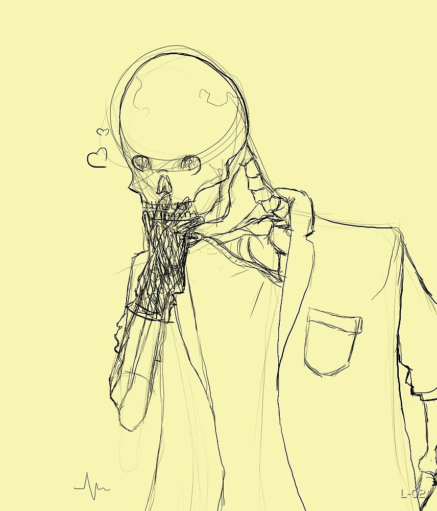 Skeleton admiring a rubber glove by L-02