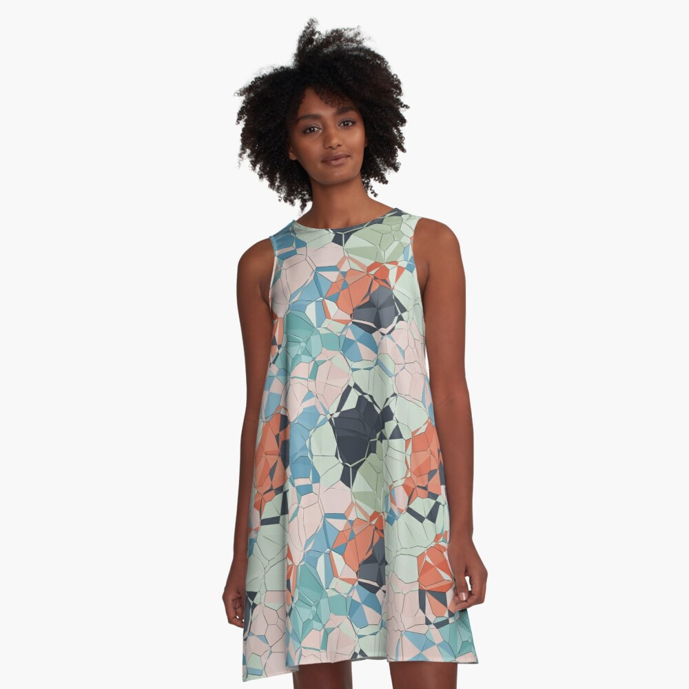 Jumbled Geometric Colors A-Line Dress Front