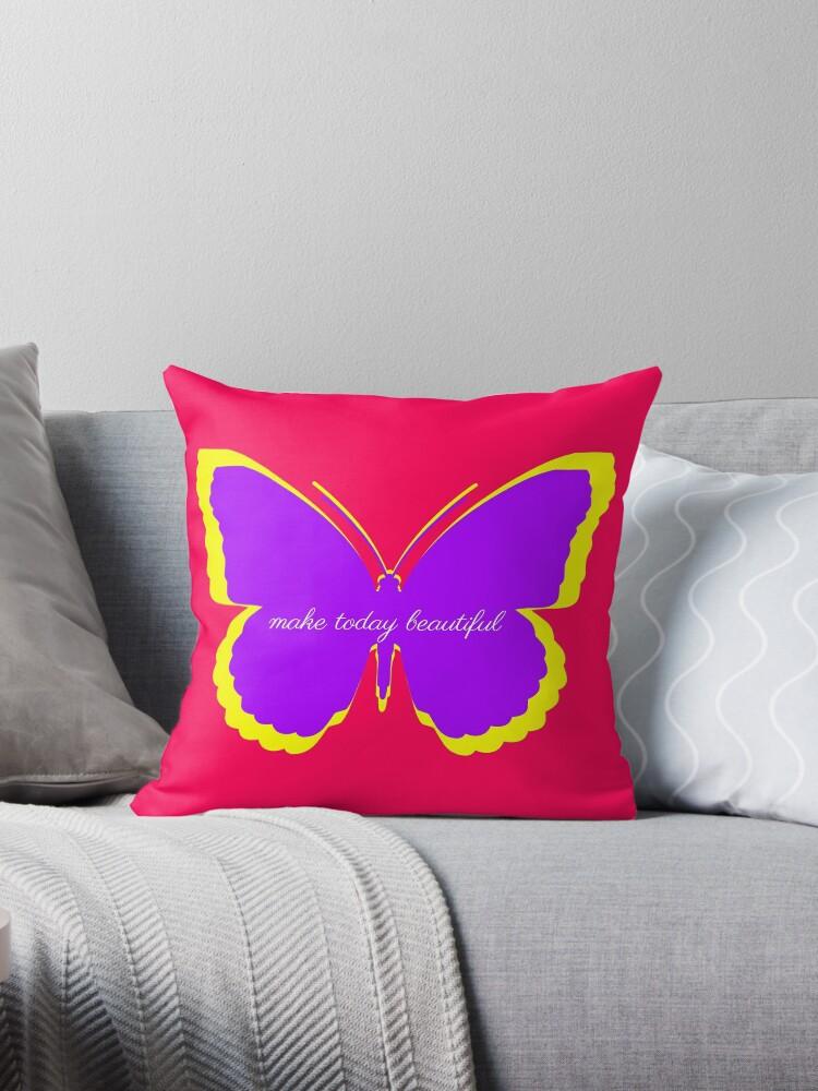 Purple and Yellow Butterfly Make Today Beautiful by JozaneHouse
