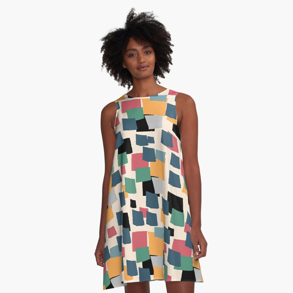 abstract colored squares A-Line Dress Front
