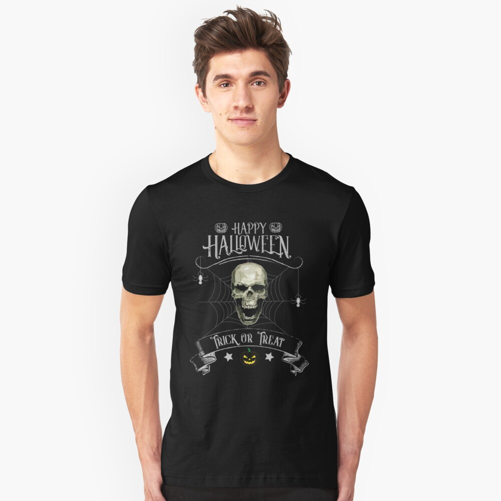 Happy Halloween, Trick or Treat, Skull, Spider Unisex T-Shirt Front