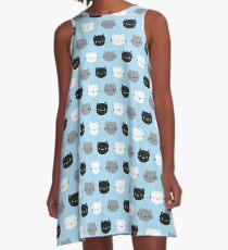 Cute Cats & Kawaii Kittens (Blue) A-Line Dress